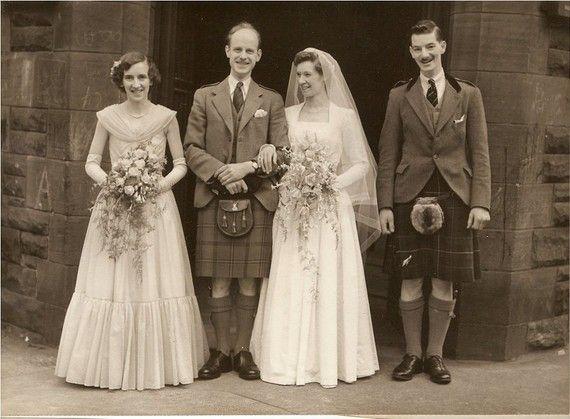 Wonderful VINTAGE 1940's Scottish WEDDING PHOTO