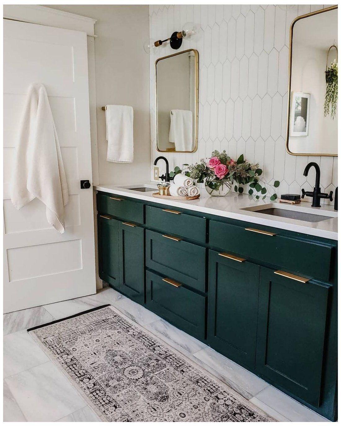 Bathrooms Of Instagram On Instagram Loving This Emerald Green Vanity From Craven Haven Emerald Green Bathroom Green Vanity Bathroom Design Decor