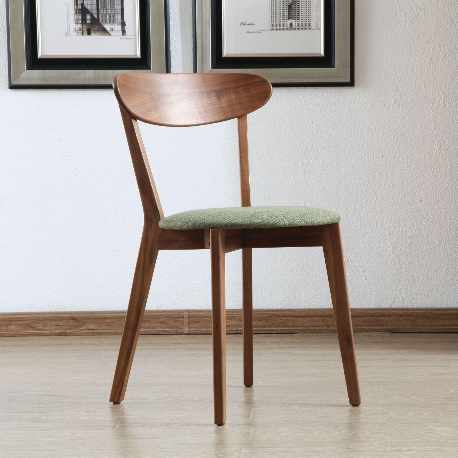 Henrik solid walnut dining chair fabric seat