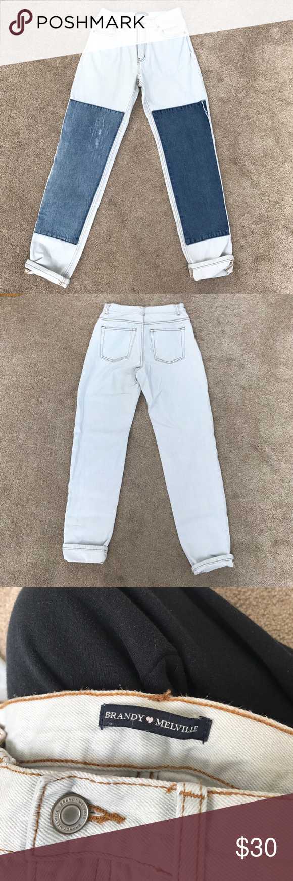 Brandy Melville Boyfriend Jeans Super comfy, worn once, brown stitching and darker blue panels Brandy Melville Jeans Boyfriend