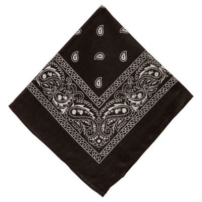 This black polyester bandana features a classic paisley print and serves a range of functions from a quick outfit accessory to a multipurpose outdoor tool. If you're in a pinch you can even combine the bandana with hair ties (sold separately) or spare string to create a DIY face mask that'll keep you from dust and other environmental factors. No matter how you use it a fabric bandana is a handy item to have around the house that's easy to wash and store until the next time you need it. Black Pai