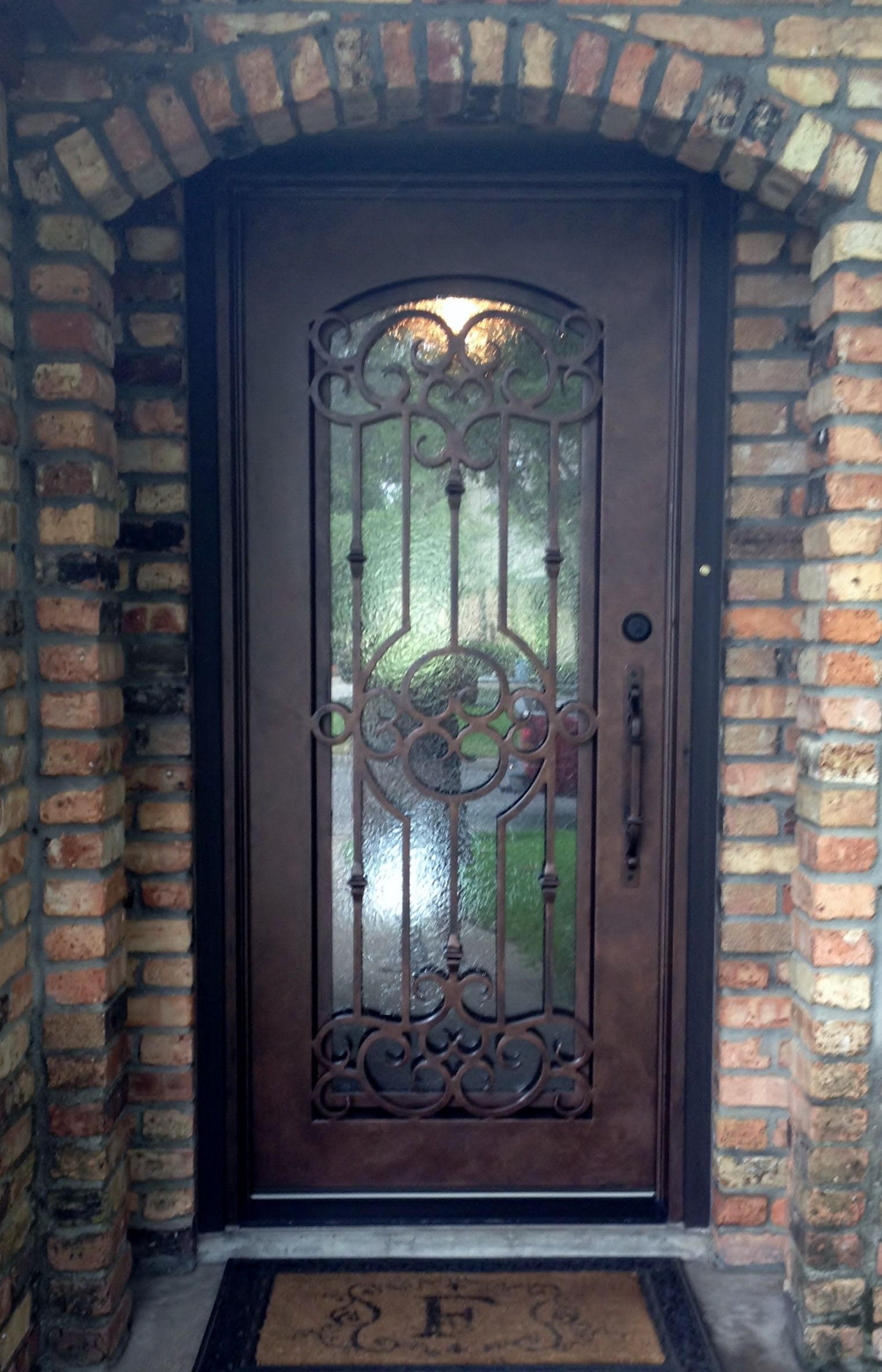 Single Custom Wrought Iron Unit With Dark Copper Finish And