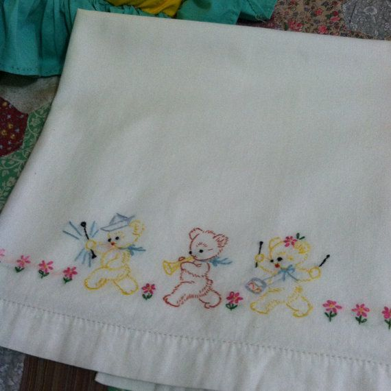 Old Vintage Baby Crib Sheet Hand Embroidered Marching Band Of