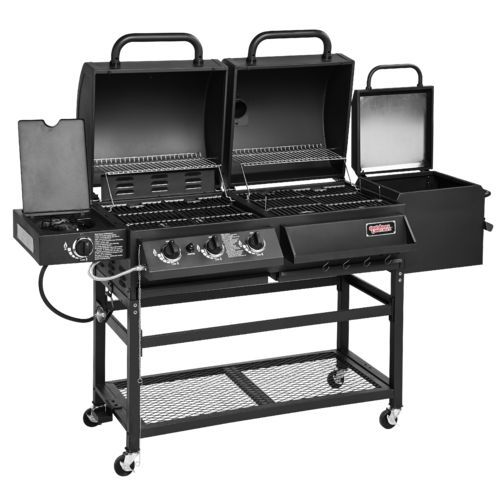 Outdoor Gourmet Triton Original 4 Burner Propane And Charcoal Grill Smoker Combo