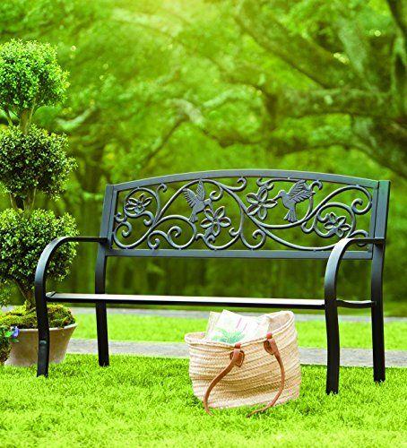 Metal Garden Benches, Black Cast Aluminum Garden Bench