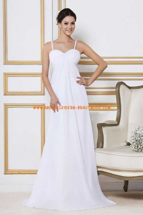 Kolumne Elegante Schlichte Brautkleider aus Chiffon mit Schleppe ...