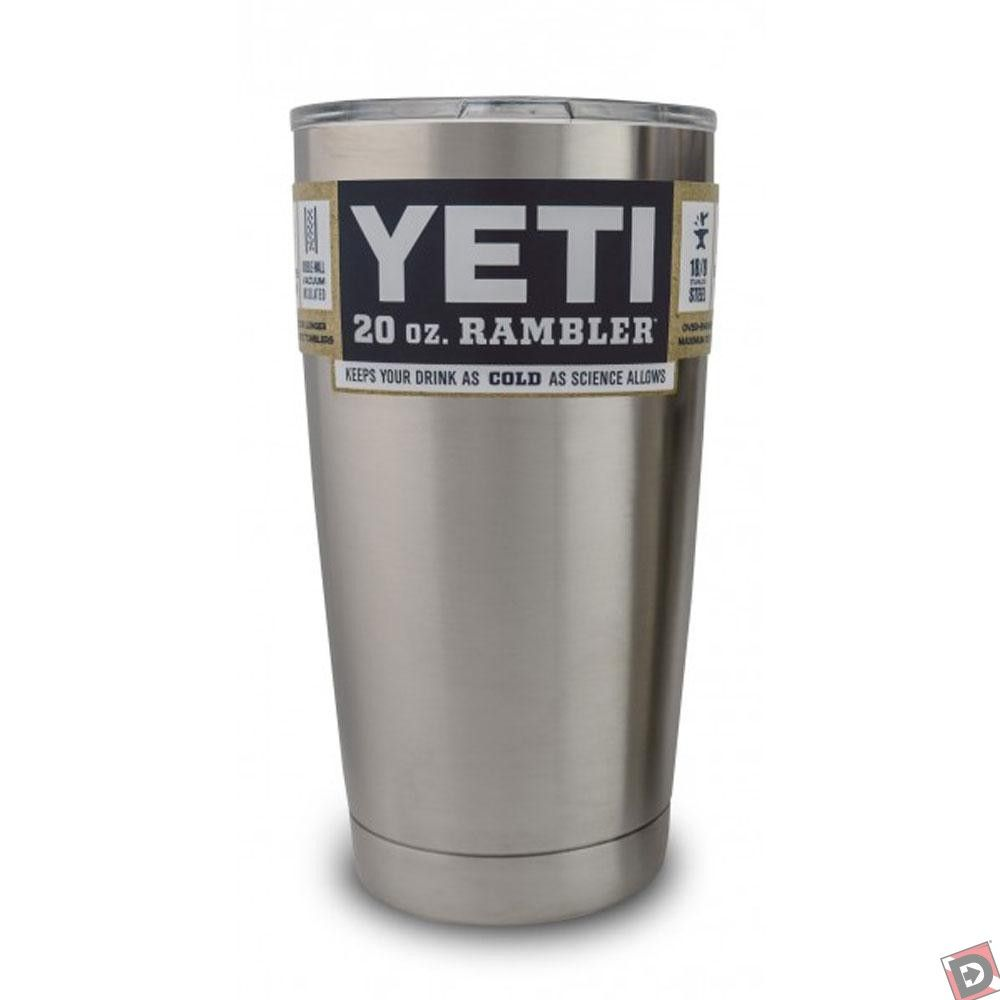 The Yeti Rambler Tumbler 20 oz is made with a double-wall vacuum insulation, made with BPA free stainless steel. Keeps drinks cold!