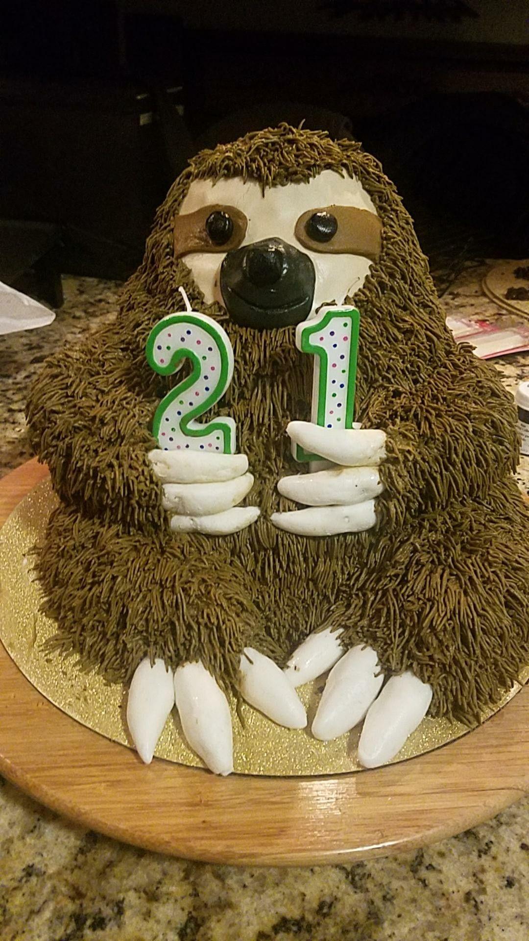 Sloth birthday cake. Layered chocolate cake, covered in fondant to ...