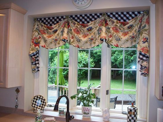 Love This Valance With The Contrasting Black And White Checks From The Workroom O Valances For Living Room Valance Window Treatments Kitchen Window Treatments