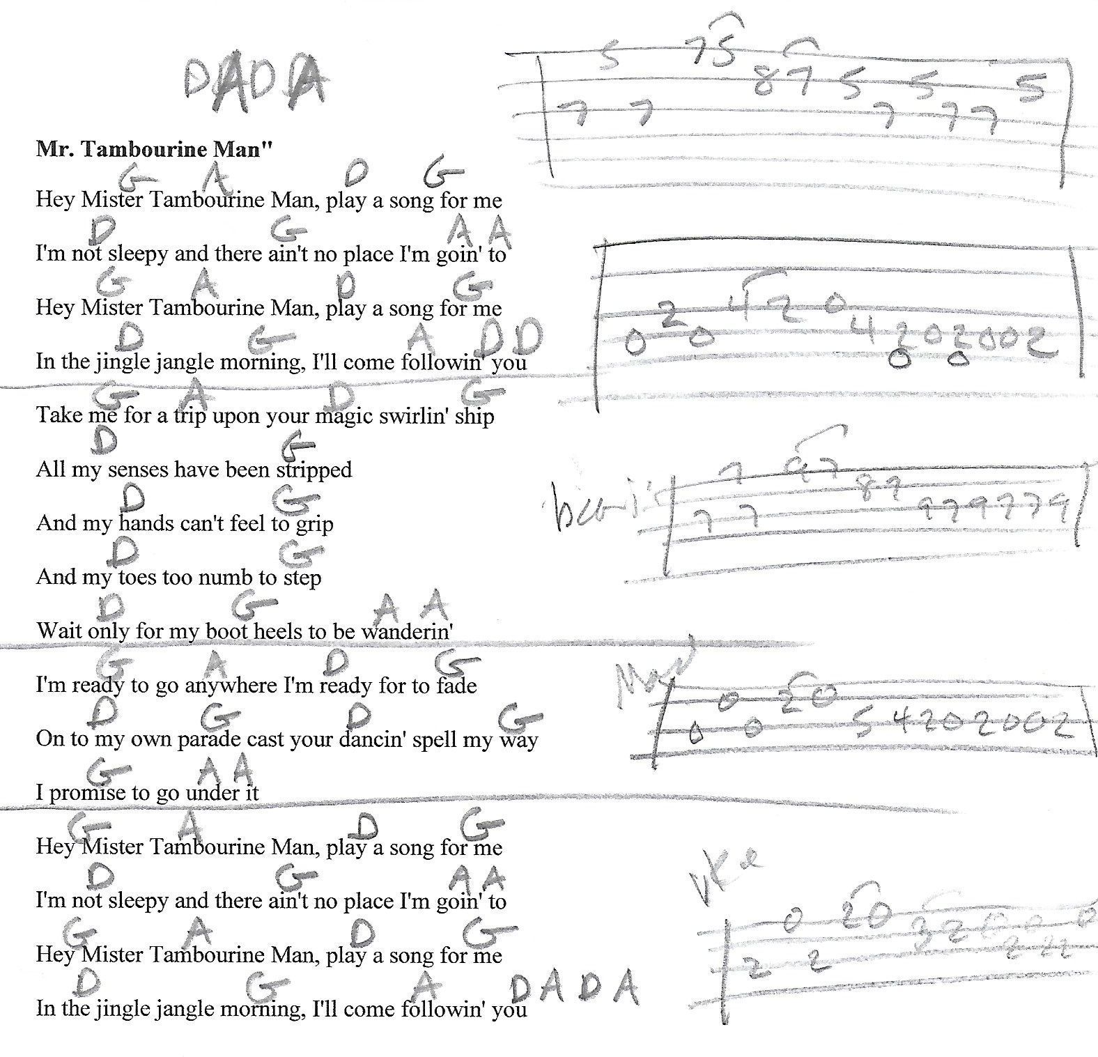 Mr Tambourine Man The Byrds Guitar Lesson Chord Chart With Lyrics