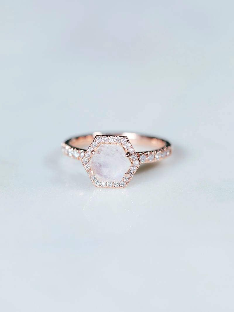 Moonstone engagement ring hexagon rose gold wedding band unique