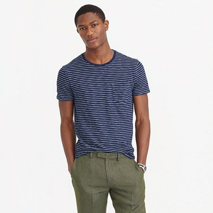 Our classic striped T-shirt, dyed with indigo for an unmistakably rich color that fades (and looks better) with age—just like a great pair of jeans. <ul><li>Cotton.</li><li>Rib trim at neck.</li><li>Chest pocket.</li><li>Side vents with tennis tail (slightly longer in back).</li><li>Machine wash.</li><li>Import.</li><li>Since this item is indigo dyed, it's prone to crocking, or color transfer, so wear (and wash) it with dark colors till it's worn in.</li></ul>