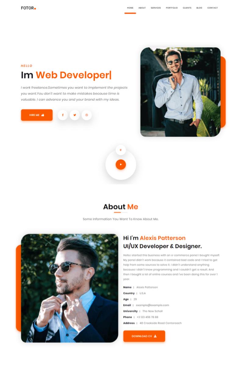 Fotor Personal Portfolio Html Landing Page Template 96972 Personal Portfolio Portfolio Website Layout Portfolio Web Design