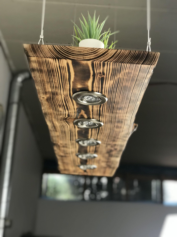 Blockwood Forge Lampara De Techo De Madera Flameada Para La Etsy Hanging Lamp Wood Ceiling Lamp Wood Light Fixture