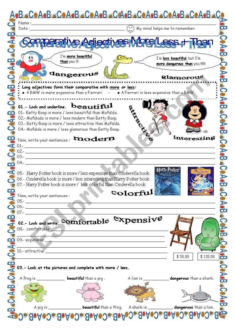 These Are 2 Worksheets For Children Get More Practice With Comparative Adjectives Using More Or Les Comparative Adjectives Adjectives Free Printable Worksheets [ 1169 x 821 Pixel ]
