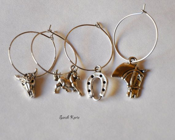 Set of Four Rodeo Ranch Wine Charms by MyLifeStoryCharms on Etsy, $10.00