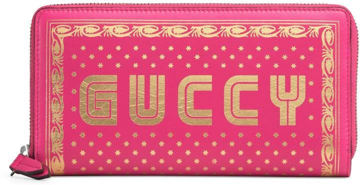 Gucci Guccy Moon & Stars Leather Zip Around Wallet