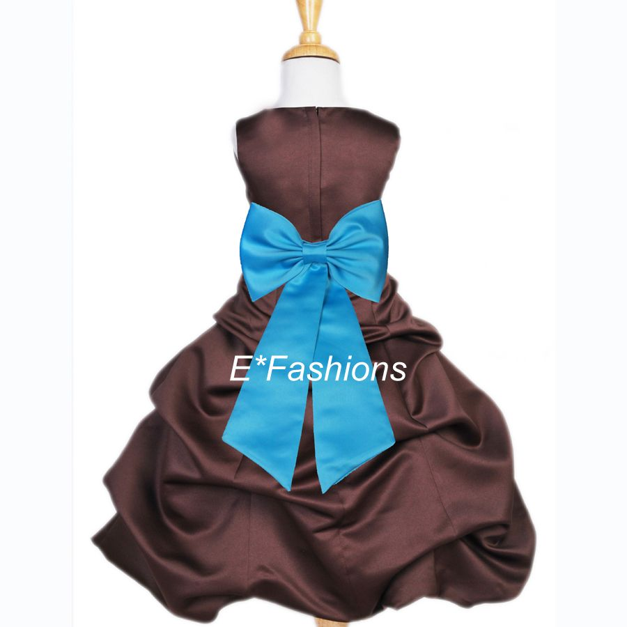 Brown turquoise blue party wedding flower girl dress 2 3 4 5 6 7 8 9 ...