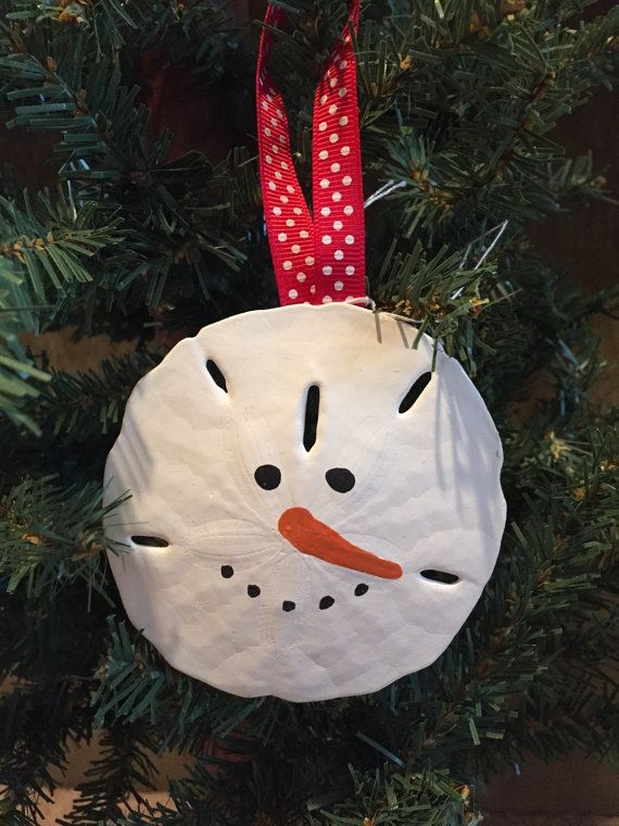 Adorable Large Sand Dollar Snowman Face Ornament   Shell Craft ...