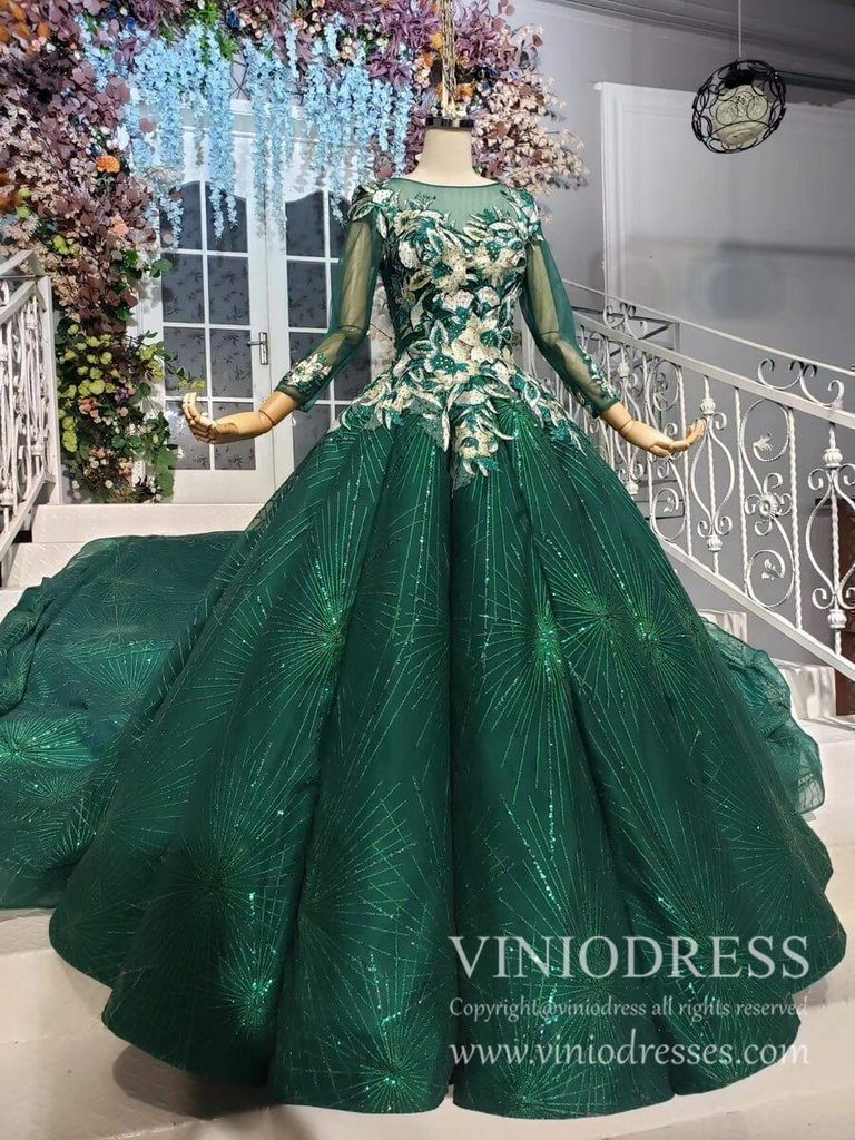 Long Sleeve Emerald Green Debut Gowns Vintage Sequin Princess Dress Fd1887 In 2021 Princess Ball Gowns Floral Prom Dresses Gowns [ 1024 x 768 Pixel ]