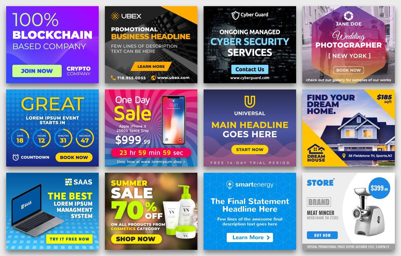 Yn Bundle Most Advanced Html5 Banner Bundle Made With Google Web Designer Google Web Designer Web Design Animated Banner Ads