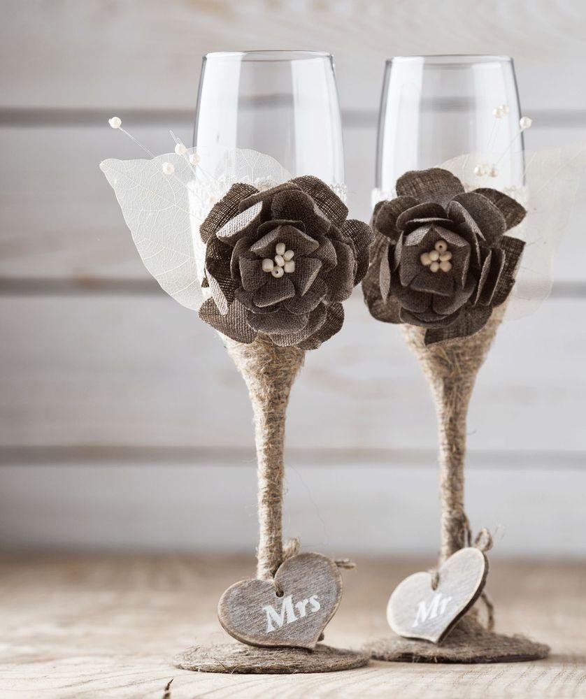 Wedding Champagne Glasses Handmade Toasting Flutes Rustic Wedding ...