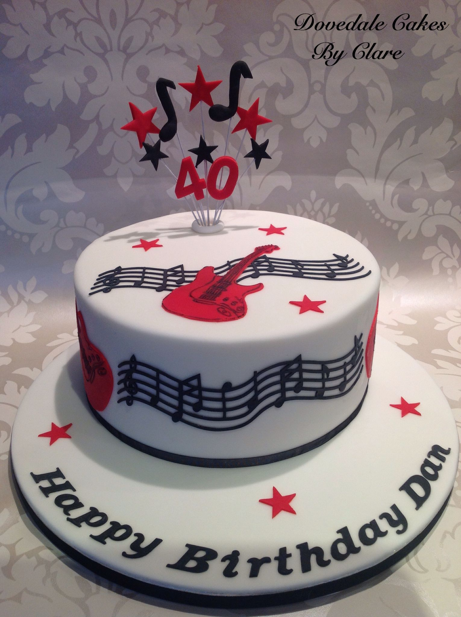 Musical Guitar Themed Cake Bolo Musical Bolos De Aniversario