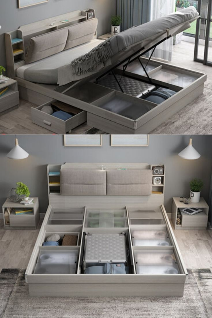 Double Bed Storage Space Saving Bed Design Modern Bedroom