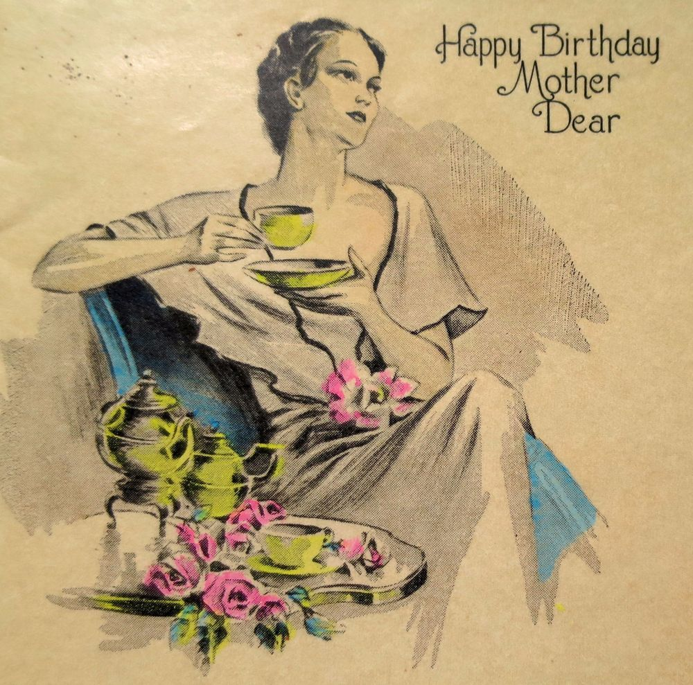 1920s Antique Happy Birthday Card Featuring An Elegant Country Cottage Setting