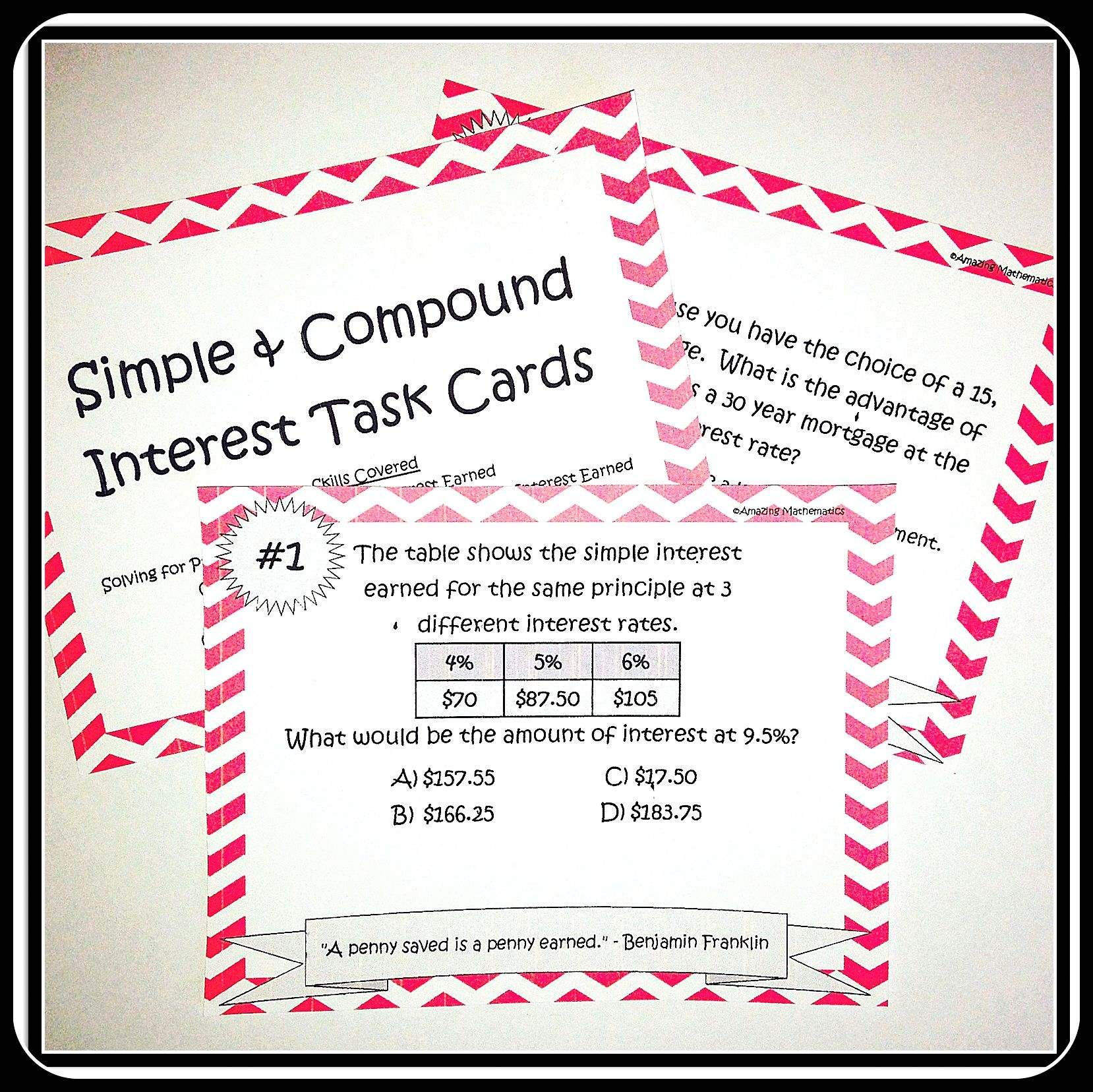 Simple Amp Compound Interest Task Cards