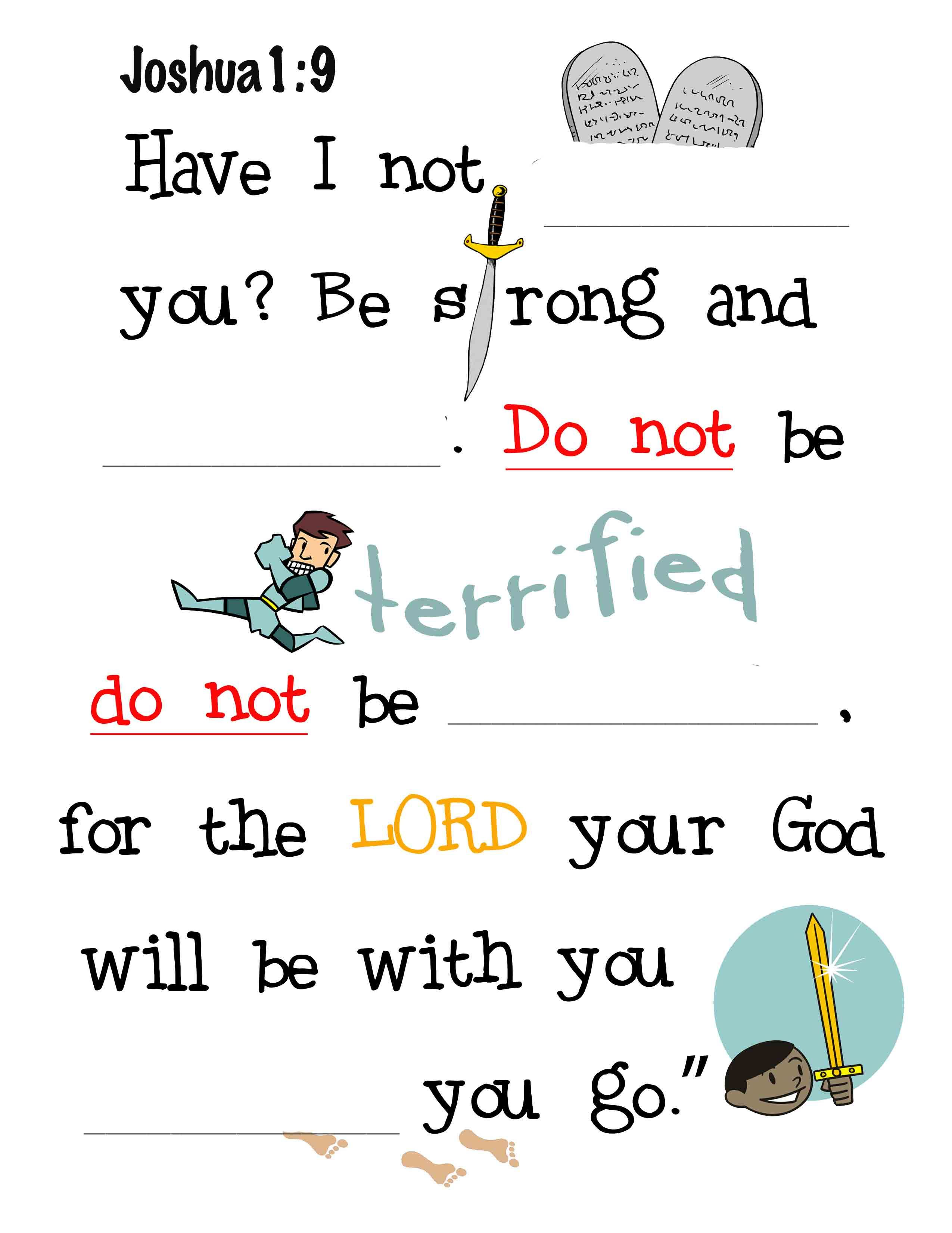 Joshua 1 9 Fill In The Blanks For Kids Bible Study Lessons