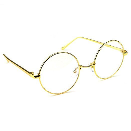 3fc0ea193e4 PenSee Circle Oversized Metal Eyeglasses Frame Inspired Horned Rim Clear  Lens Glasses Review