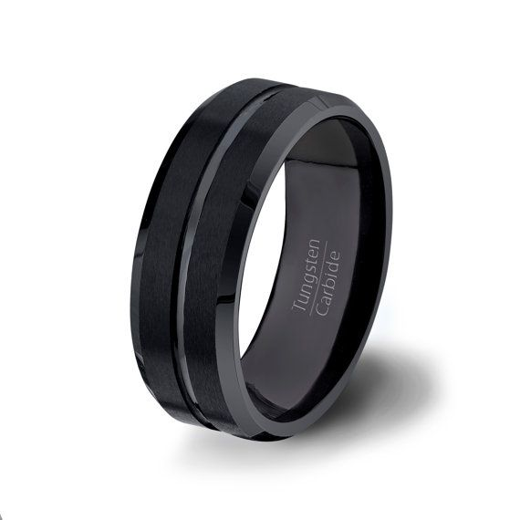 Mens Wedding Bands Black Tungsten Ring 8mm Brushed With Center Groove And Beveled Edg Black Tungsten Rings Mens Wedding Bands Black Black Tungsten Wedding Band