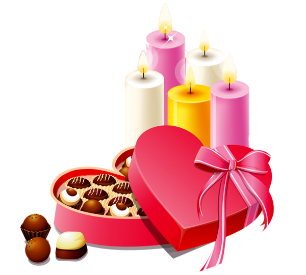 Pink Heart Box of Chocolates and Candles