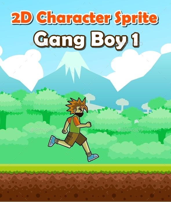 2d character sprite gang boy 1 sprites game assets royalty free