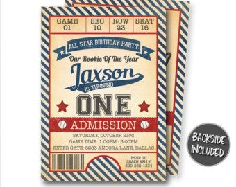 Invitación del cumpleaños del béisbol, béisbol invitación, invitación de billetes de béisbol, béisbol invita, partido de béisbol, personalizado, imprimibles