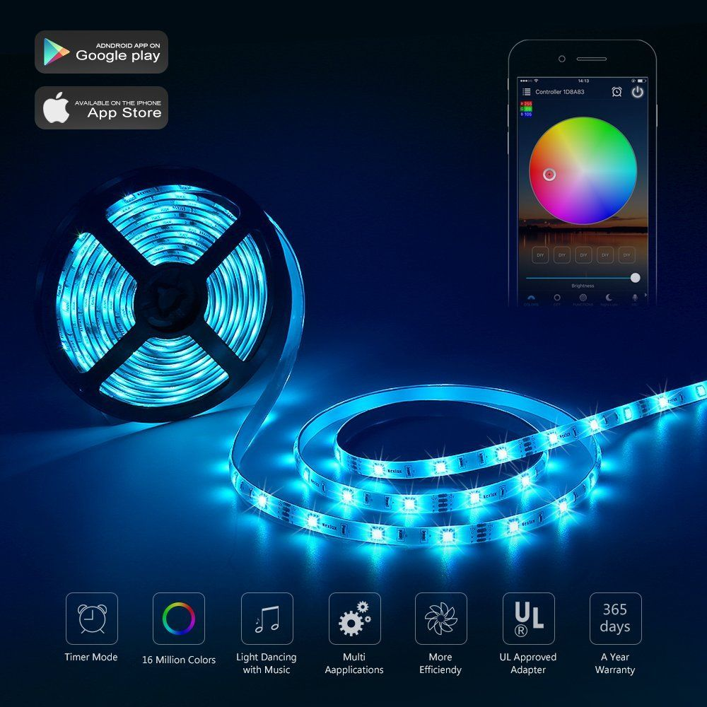 Wireless Led Light Strips Simple Led Light Strip Nexlux Wifi Wireless Smart Phone Controlled Strip Design Inspiration