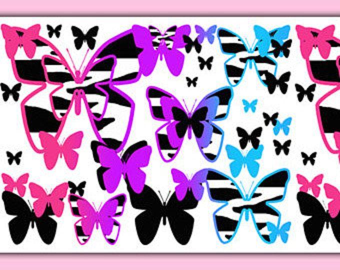 RAINBOW ZEBRA BUTTERFLY Animal Print Wallpaper Border Wall Decals Teen  Girls Bedroom Baby Nursery Kids Room