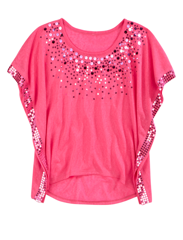 Girls Clothing Short Sleeve Embellished Circle Top