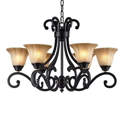 LNC Traditional Chandeliers 6-light Black Ceiling Hanging Chandelier Lighting (Metal)