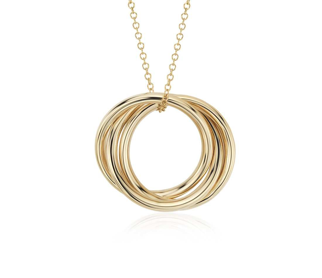On Trend! Infinity Rings Pendant in 14k Yellow Gold