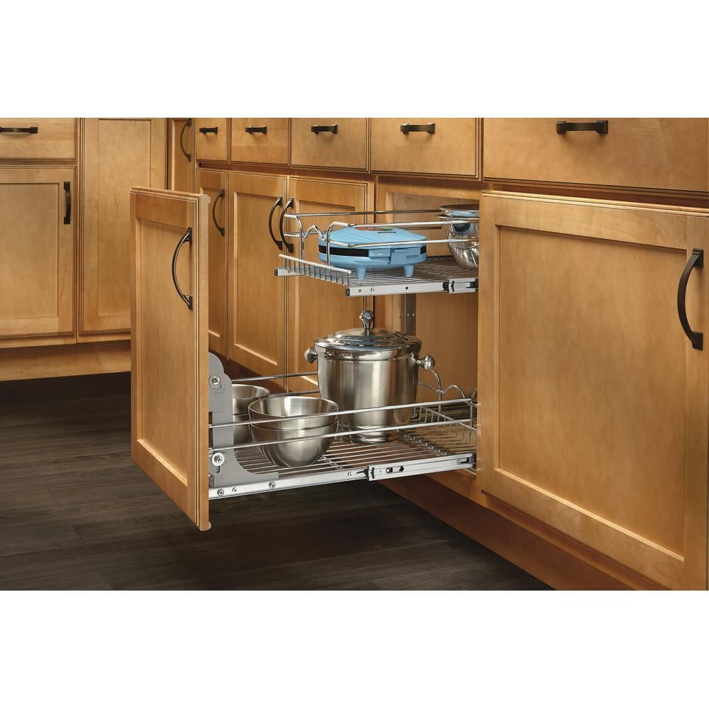 Rev A Shelf 19 In H X 14 75 In W X 22 In D Base Cabinet Pull Out Chrome 2 Tier Wire Basket 5wb2 1522 Cr The Ho Pull Out Drawers Rev A Shelf Shelving Racks