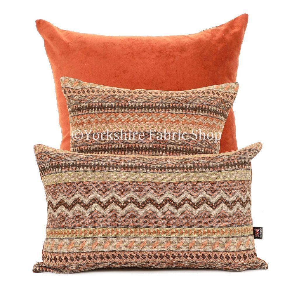 New Soft Woven Aztec Small Motif Brown Orange Geometric Pattern Fabric Cushion