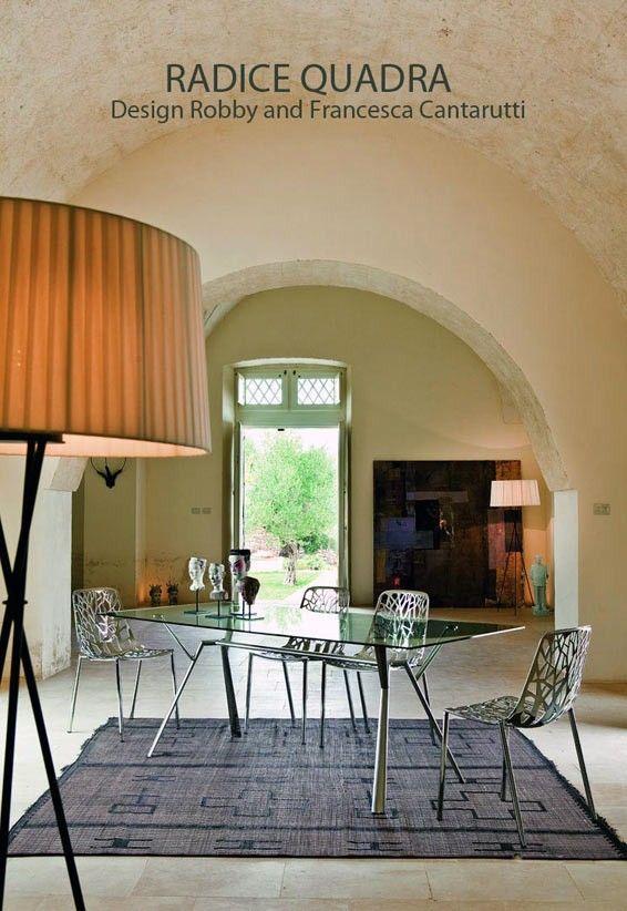Table RADICE QUADRA, Aluminium poli et Verre Indoor/Outdoor,200x90 Cm, FAST Spa