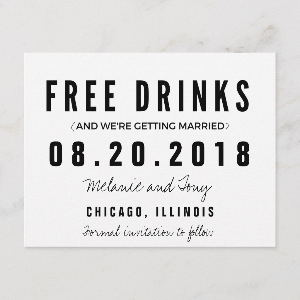 Funny Free Drinks Wedding Save the Dates Announcement Postcard | Zazzle.com