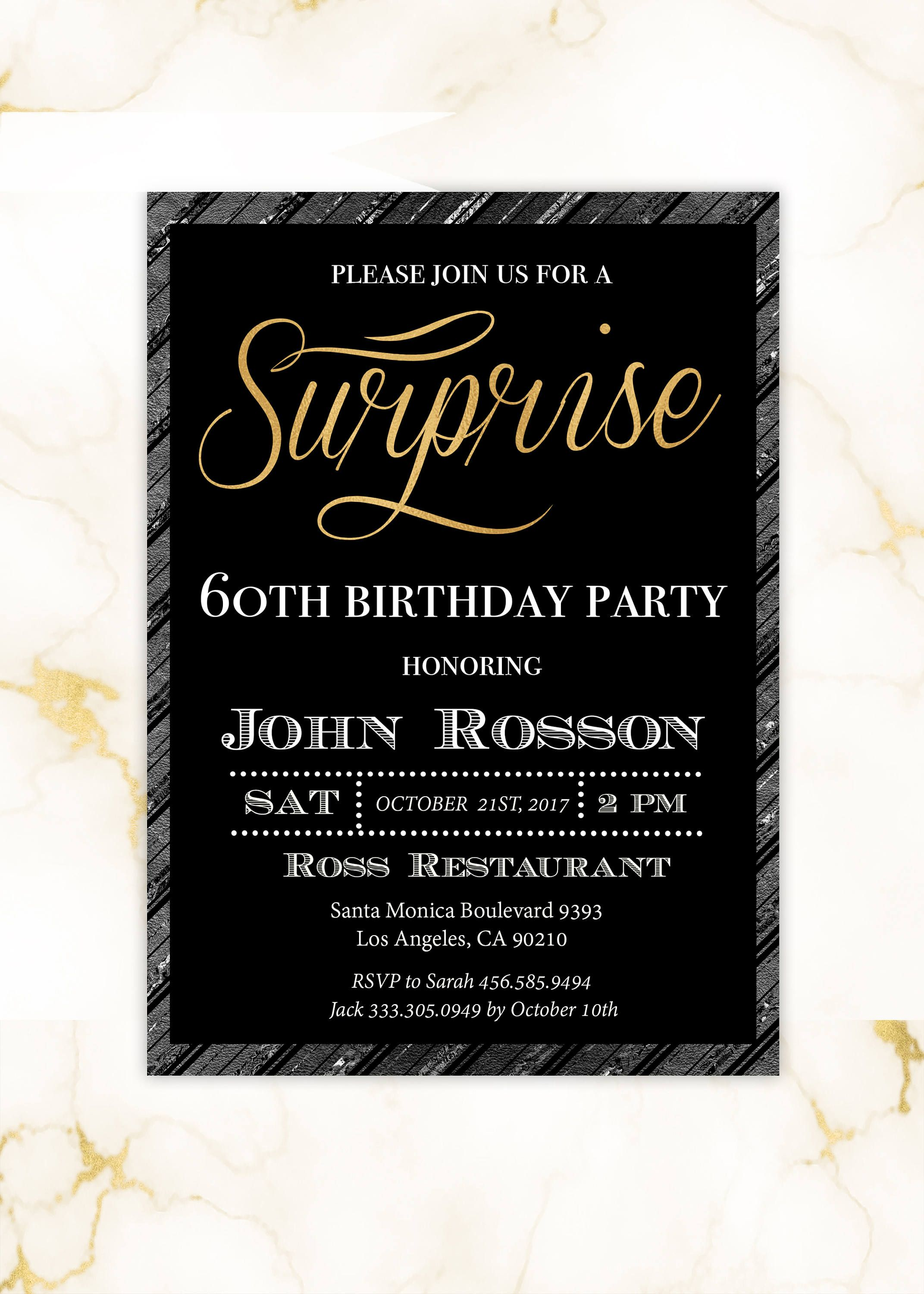 surprise birthday invitation with gold modern script for man etsy