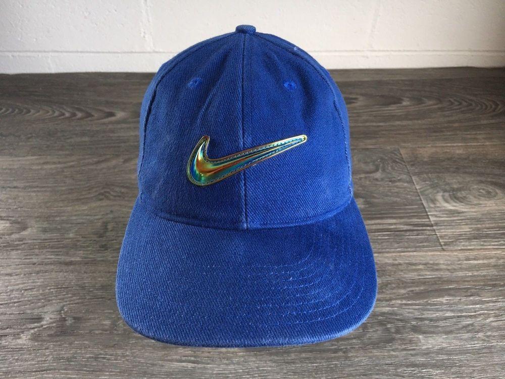 Nike Hat 90s Vtg Metallic Rainbow Big Swoosh Snapback Rare Baseball Cap   nike  BaseballCap 61bd178ccf00