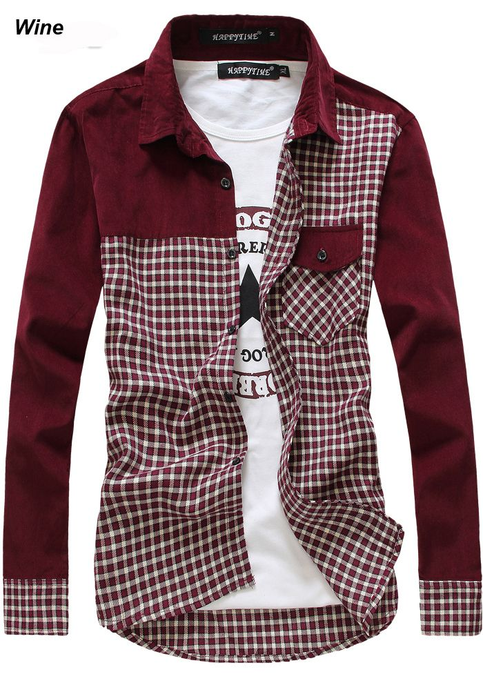 2014 College Men's Patched Shirt Junior Plaid Check Shirts Long ...