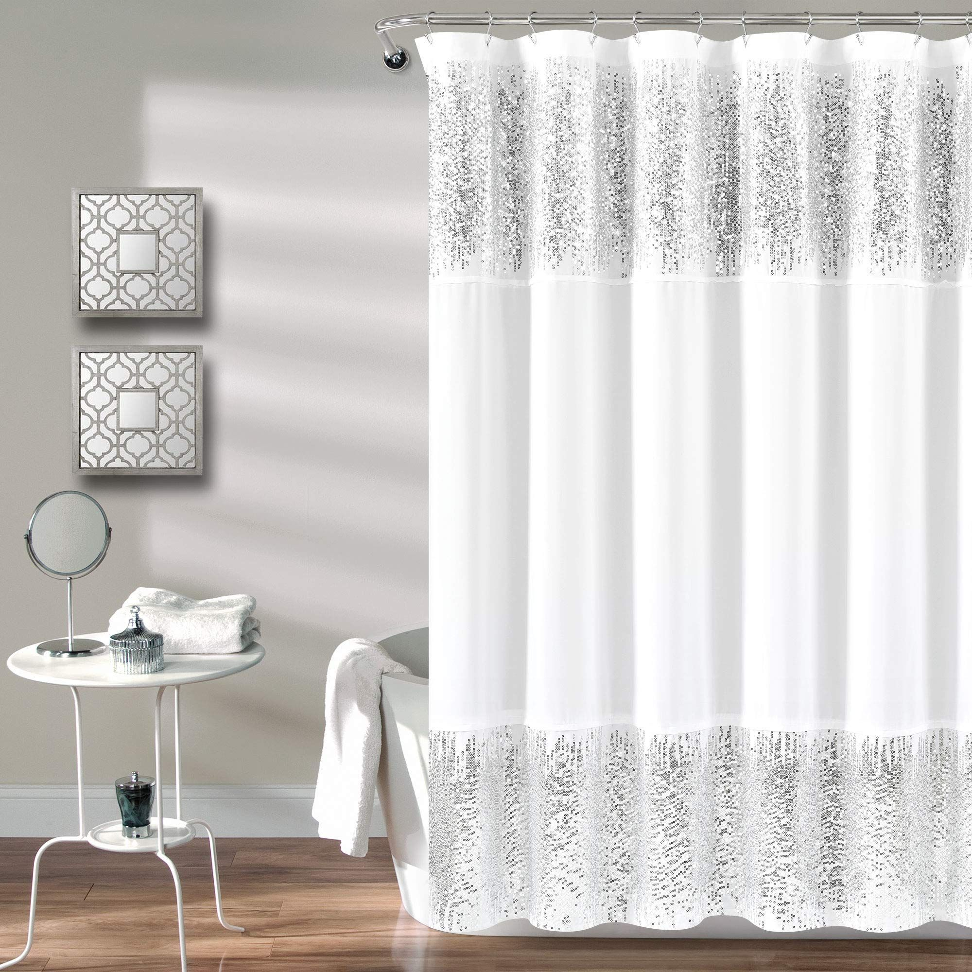 Lush Decor Silver Shimmer Sequins Shower Curtain Chic Sparkle