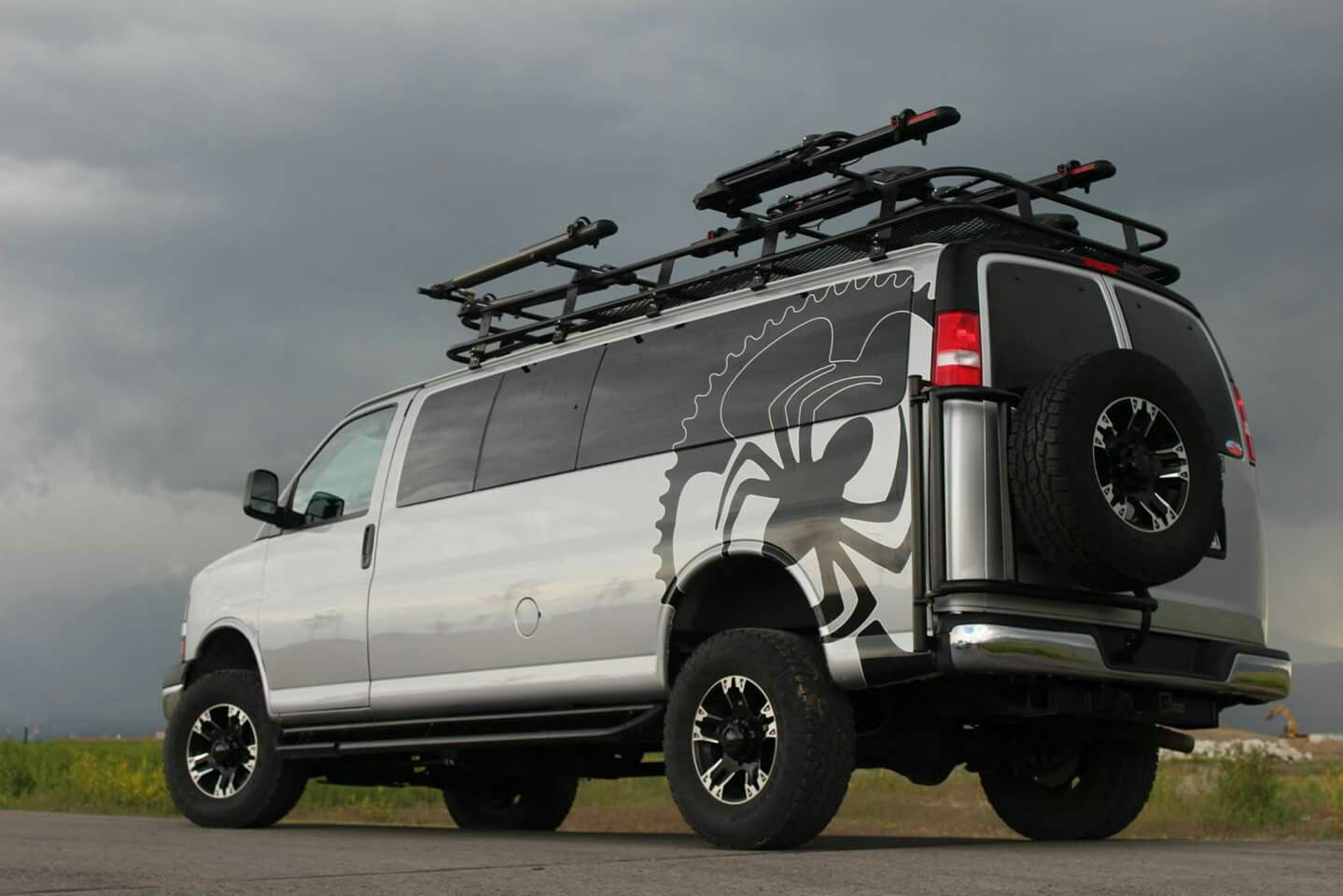 Love this gm van aluminess roof rack and tire carrier